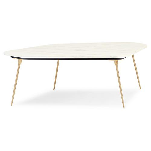 Geo Modern Coffee Table, White Marble