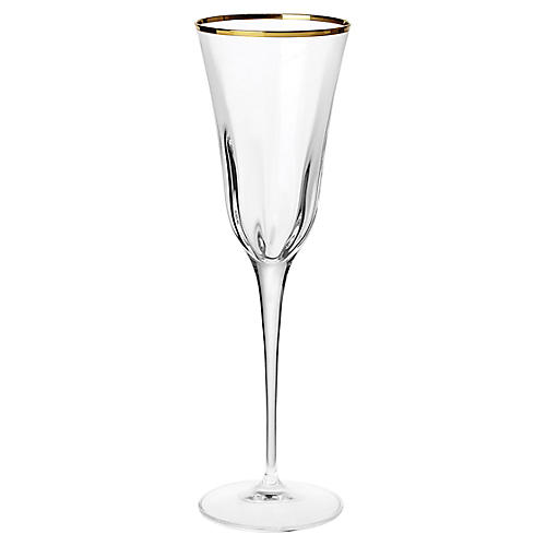 Optical Champagne Glass, Clear/Gold
