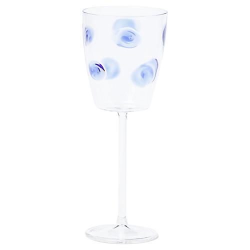 Drop Wineglass, Clear/Blue