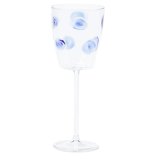 Drop Wineglass, Clear/Blue