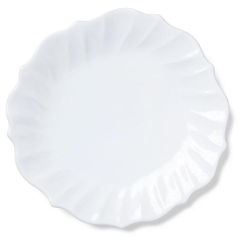 Incanto Stone Ruffled Dinner Plate, White