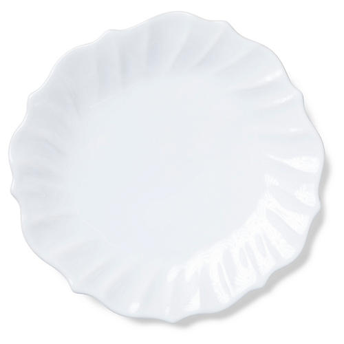 Incanto Stone Ruffled Dinner Plate, White
