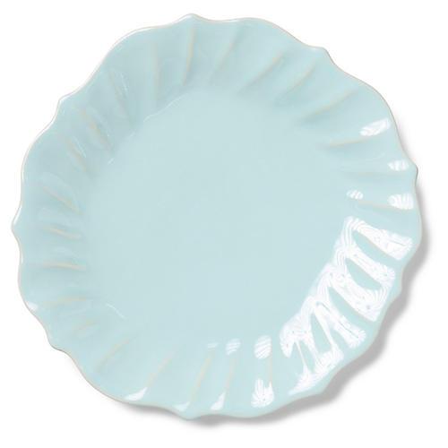 Incanto Stone Ruffled Dinner Plate, Aqua
