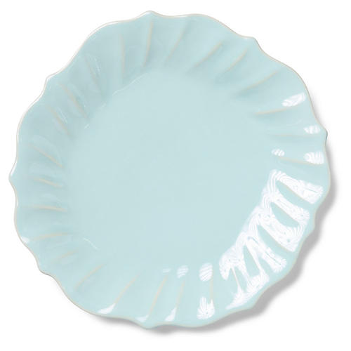 Incanto Stone Ruffled Dinner Plate, Aqua