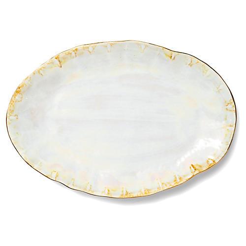 Perla Oval Platter, Pearl/Gold