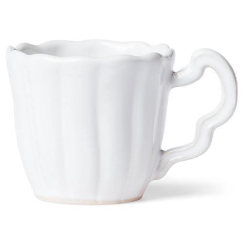 Incanto Stone Scalloped Mug, White