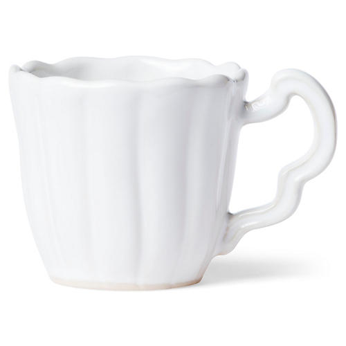 Incanto Stone Scalloped Mug, White