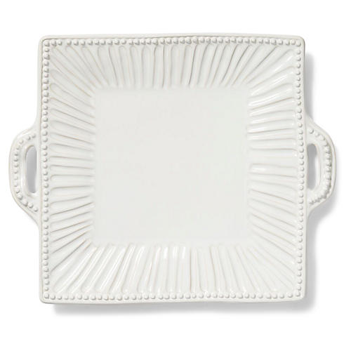 Incanto Stone Striped Square Platter, White