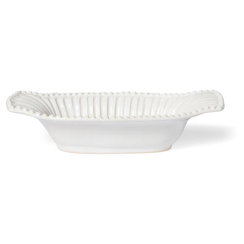 Incanto Stone Striped Au Gratin Dish, White