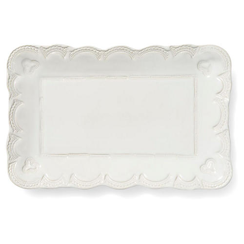 Incanto Stone Lace Rectangular Platter, White