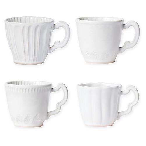 Asst. of 4 Incanto Stone Mugs, White