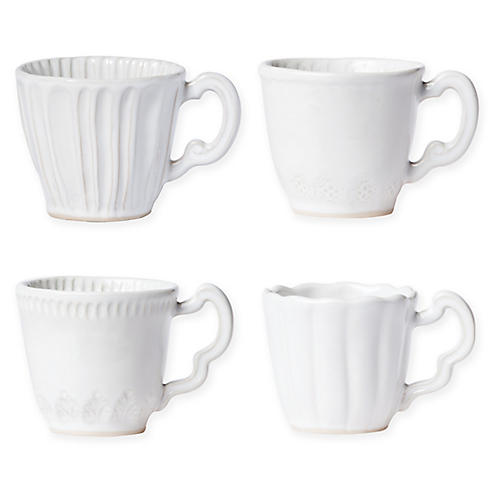 Asst. of 4 Incanto Stone Mugs, White