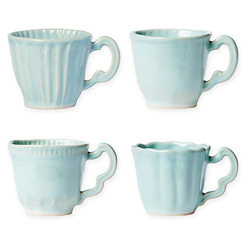 Asst. of 4 Incanto Stone Mugs, Aqua
