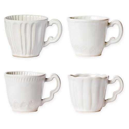 Asst. of 4 Incanto Stone Mugs, Linen