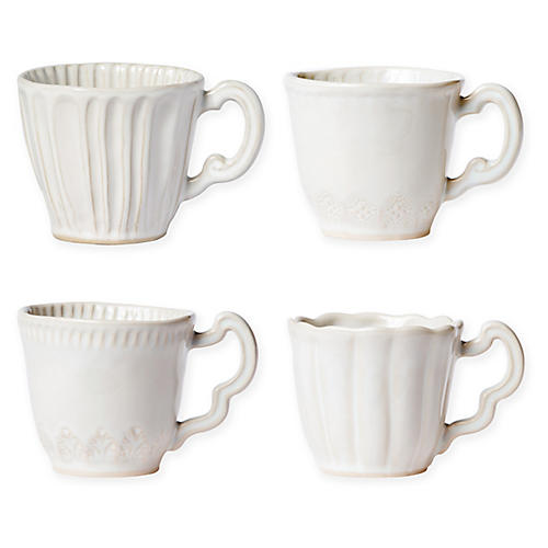 Asst. of 4 Incanto Stone Mugs, Linen
