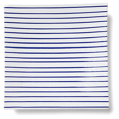 Stripe Square Platter, White/Blue