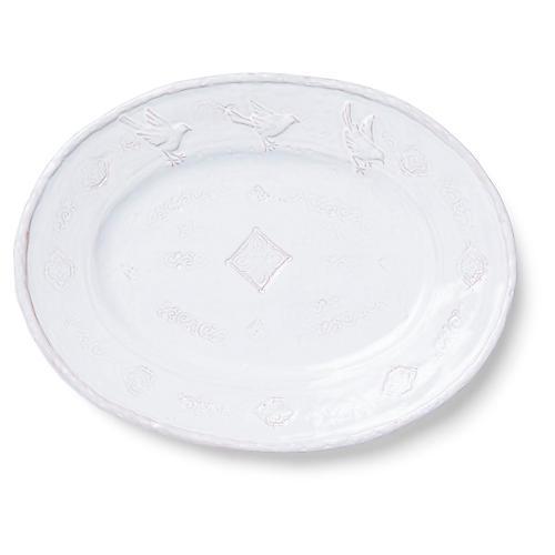 Bellezza Oval Platter, White