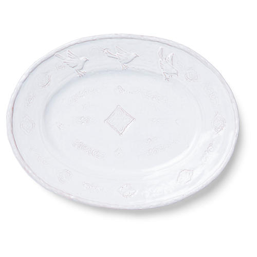 Bellezza Oval Platter, White