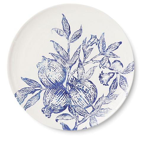 Melagrana Round Platter, Blue/Ivory