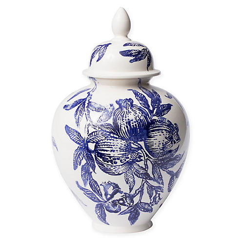 "18"" Melagrana Large Jar, Blue/White"
