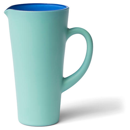 Matte Pitcher, Green/Blue