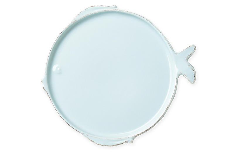 Lastra Melamine Fish Dinner Plate, Aqua