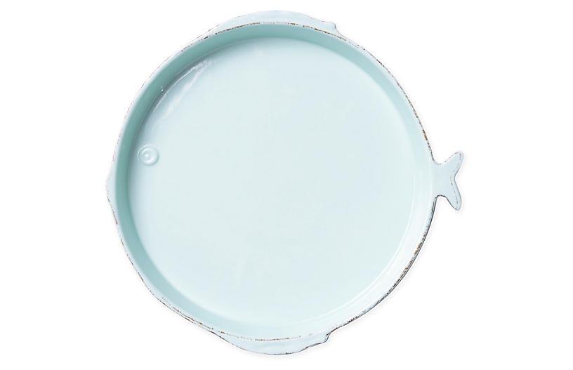 Lastra Melamine Fish Round Platter, Aqua