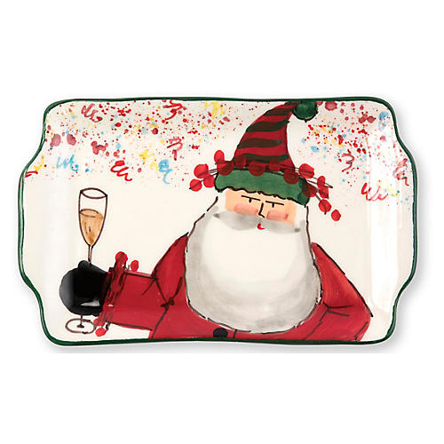 Old St. Nick 2018 Rectangular Plate, White