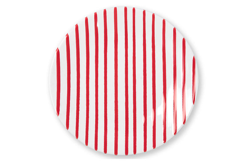 Stripe Salad Plate, Red