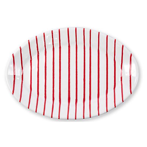 Stripe Oval Platter, Red