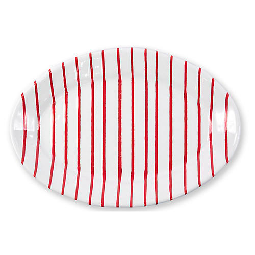 Stripe Oval Platter, Red