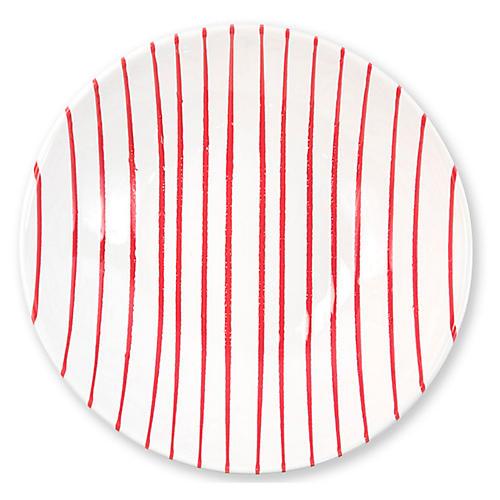 Stripe Serving Bowl, Red