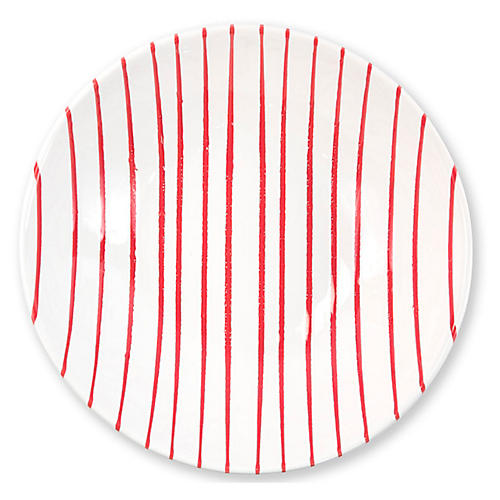 Stripe Serving Bowl, Red