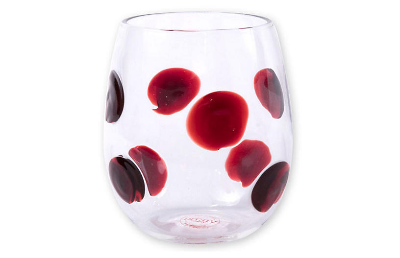 Drop Stemless Wineglass, Red