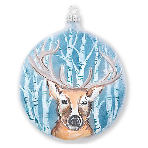Into the Woods Deer Disc Ornament, Blue