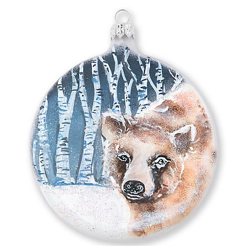 Into the Woods Bear Disc Ornament, Blue