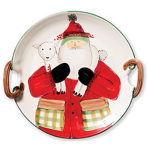 Old St. Nick Handled Platter, White
