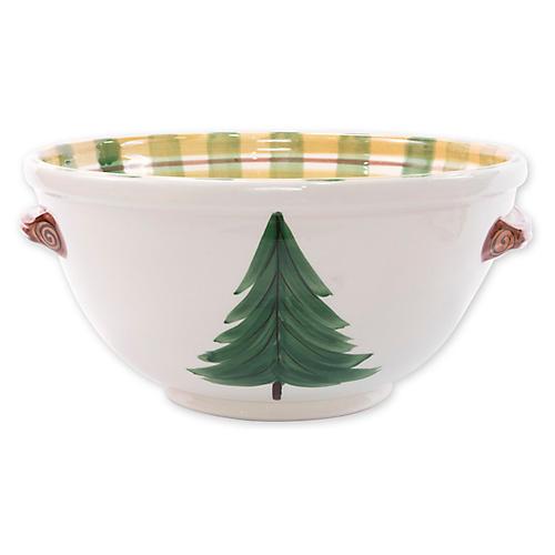 Old St. Nick Medium Handled Bowl, White