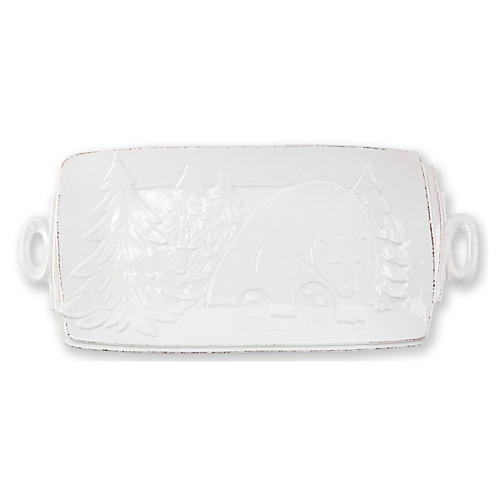 Lastra Winterland Rectangluar Platter, White
