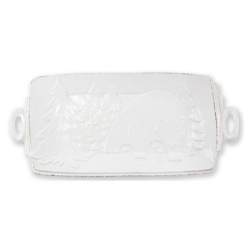 Lastra Winterland Rectangluar Platter, White