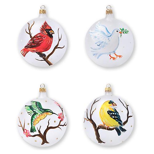 Asst. of 4 Birds Ornaments, White
