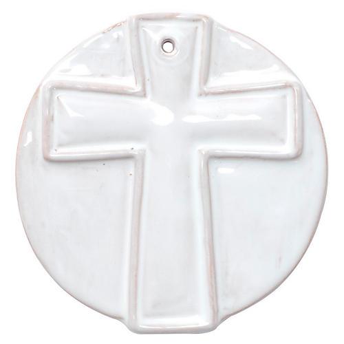 Simple Cross Ornament, White