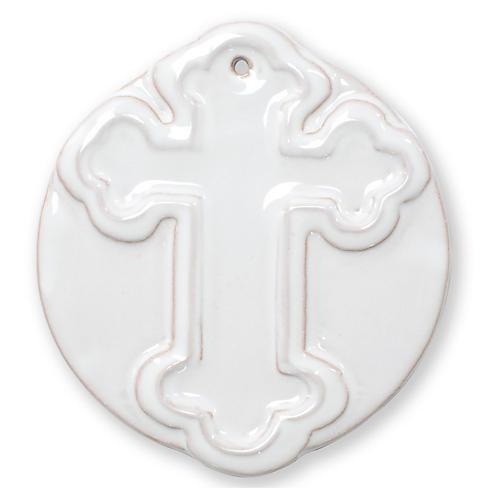 Decorative Cross Ornament, White