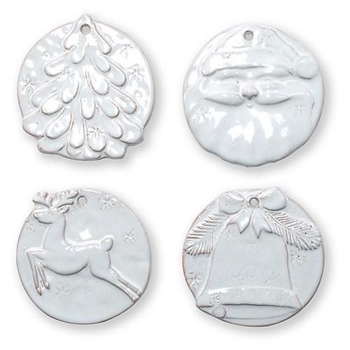 Asst. of 4 Seasonal Ornaments, White