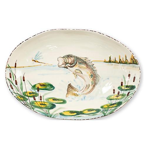 Wildlife Bass Oval Bowl, White