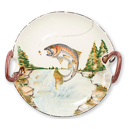 Wildlife Trout Round Platter, White