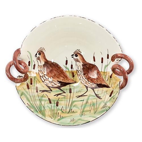Wildlife Quail Scalloped Handled Bowl, White