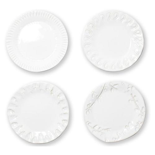 S/4 Incanto Stone Canapé Plates, White