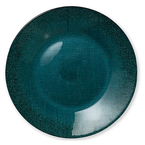 Glitter Glass Charger, Teal
