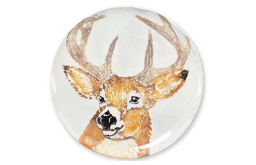 Into the Woods Deer Salad Plate, White